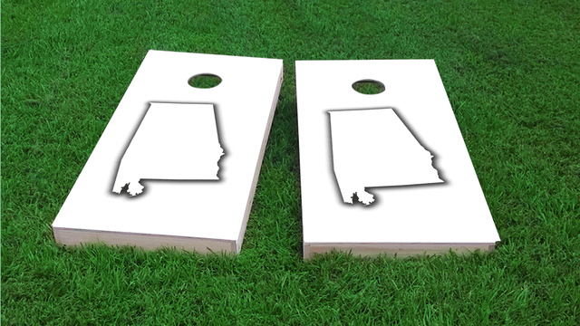 Alabama White Themed Custom Cornhole Board Design
