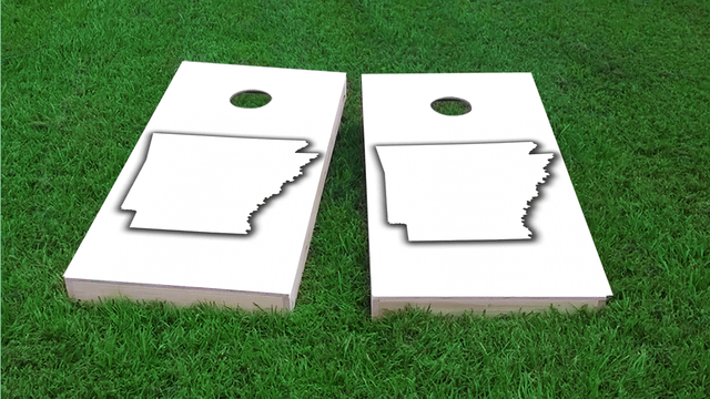 White Arkansas Themed Custom Cornhole Board Design