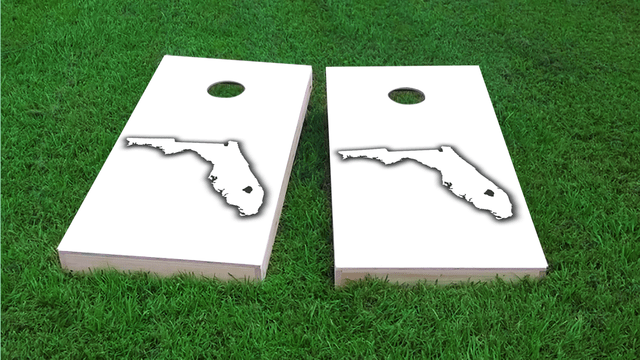 White Florida Themed Custom Cornhole Board Design