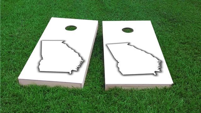 White Georgia Themed Custom Cornhole Board Design