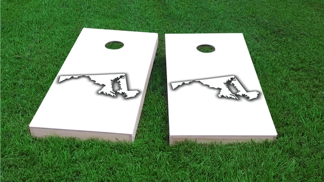 White Maryland Themed Custom Cornhole Board Design