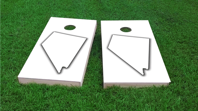 White Nevada Themed Custom Cornhole Board Design