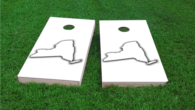 White New York Themed Custom Cornhole Board Design