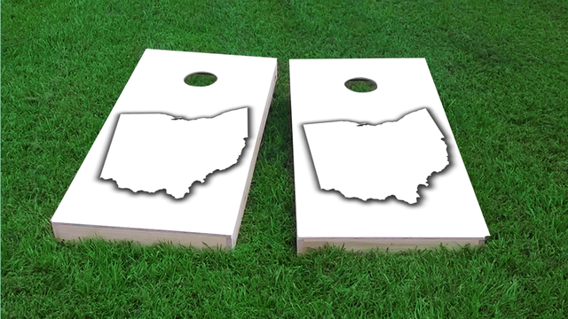 White Ohio Themed Custom Cornhole Board Design