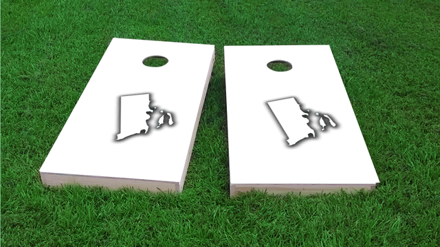 White Rhode Island Themed Custom Cornhole Board Design