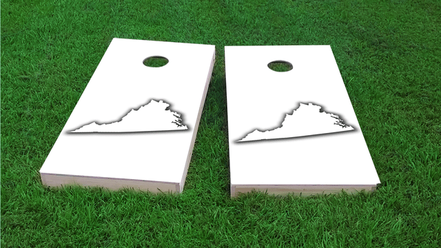 White Virginia Themed Custom Cornhole Board Design