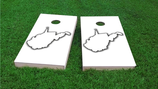 White West Virginia Themed Custom Cornhole Board Design