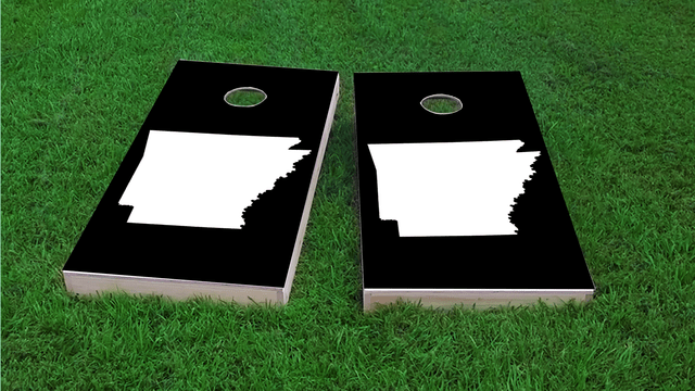 Black Arkansas Themed Custom Cornhole Board Design