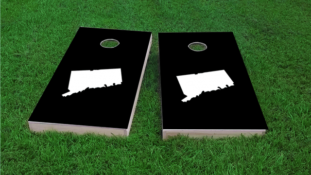 Black Connecticut Themed Custom Cornhole Board Design
