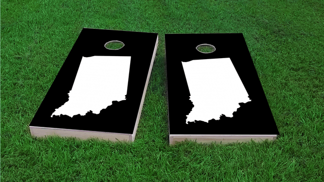 Black Indiana Themed Custom Cornhole Board Design