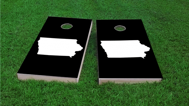 Black Iowa Themed Custom Cornhole Board Design