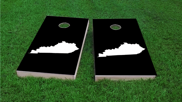 Black Kentucky Themed Custom Cornhole Board Design