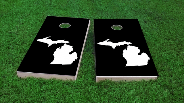 Black Michigan Themed Custom Cornhole Board Design