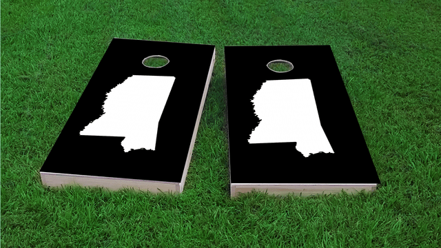 Black Mississippi Themed Custom Cornhole Board Design