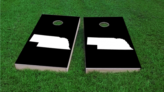 Black Nebraska Themed Custom Cornhole Board Design
