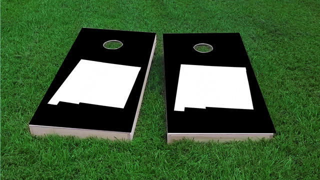 Black New Mexico Themed Custom Cornhole Board Design
