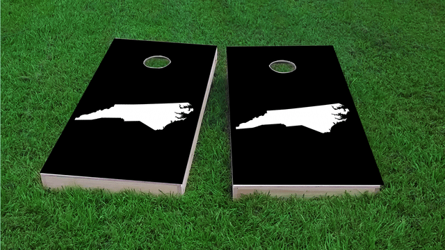 Black North Carolina Themed Custom Cornhole Board Design