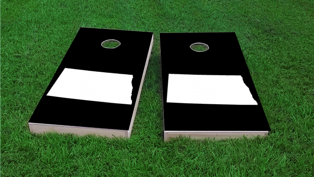 Black North Dakot Themed Custom Cornhole Board Design