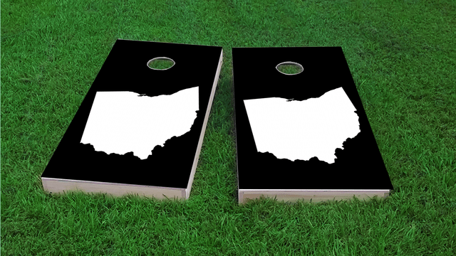 Black Ohio Themed Custom Cornhole Board Design