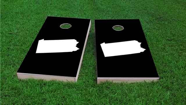 Black Pennsylvania Themed Custom Cornhole Board Design