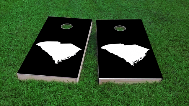 Black South Carolina Themed Custom Cornhole Board Design