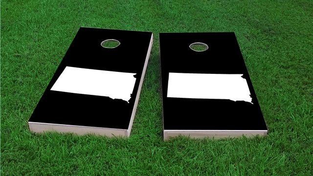 Black South Dakota Themed Custom Cornhole Board Design