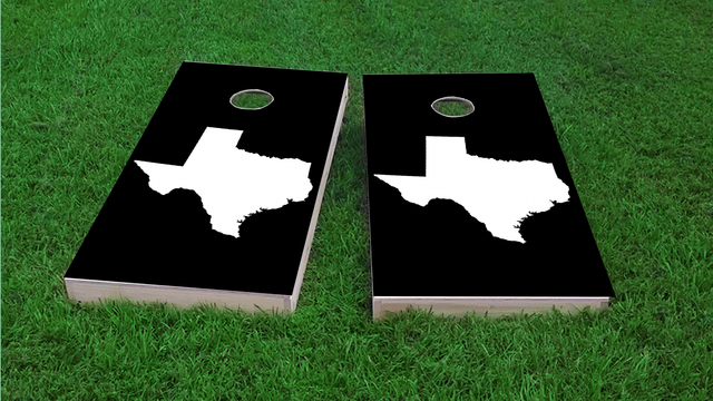 Black Texas Themed Custom Cornhole Board Design