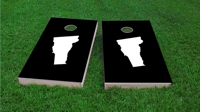 Black Vermont Themed Custom Cornhole Board Design