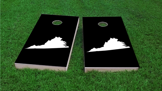 Black Virginia Themed Custom Cornhole Board Design