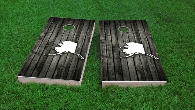 Wood Slat (Alaska) Themed Custom Cornhole Board Design