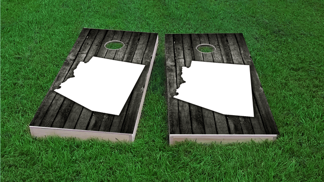 Wood Slate (Arizona) Themed Custom Cornhole Board Design