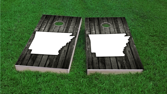 Wood Slat (Arkansas) Themed Custom Cornhole Board Design