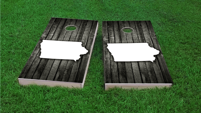 Wood Slat State (Iowa) Themed Custom Cornhole Board Design