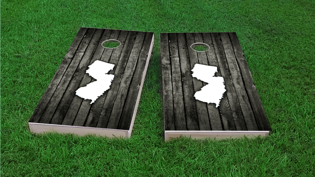 Wood Slat State (New Jersey) Themed Custom Cornhole Board Design