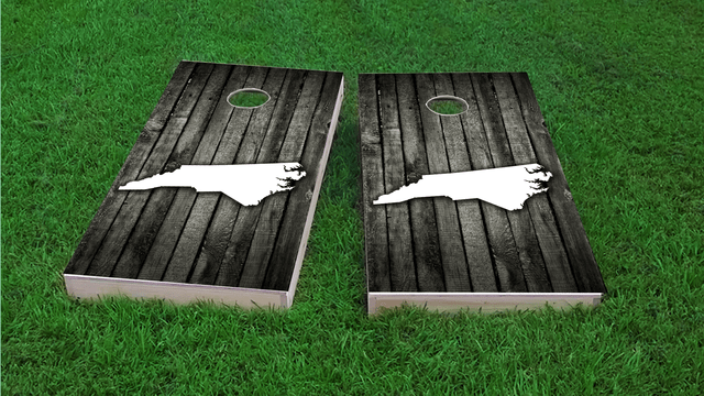 Wood Slat State (North Carolina) Themed Custom Cornhole Board Design
