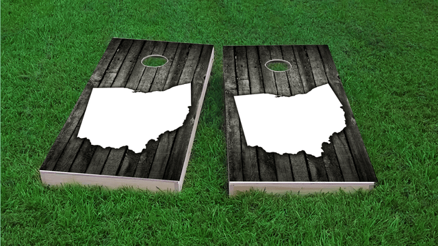 Wood Slat State (Ohio) Themed Custom Cornhole Board Design