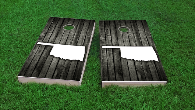 Wood Slat State (Oklahoma) Themed Custom Cornhole Board Design