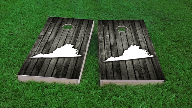 Wood Slat State (Virginia) Themed Custom Cornhole Board Design
