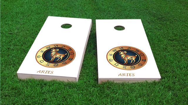 Zodiac White (Aries) Themed Custom Cornhole Board Design