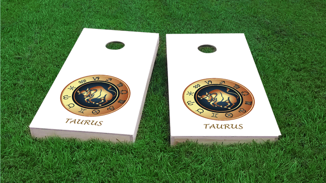 Zodiac White (Taurus) Themed Custom Cornhole Board Design