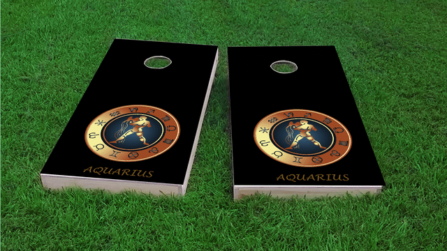 Zodiac Black (Aquarius) Themed Custom Cornhole Board Design