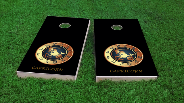 Zodiac Black (Capricorn) Themed Custom Cornhole Board Design