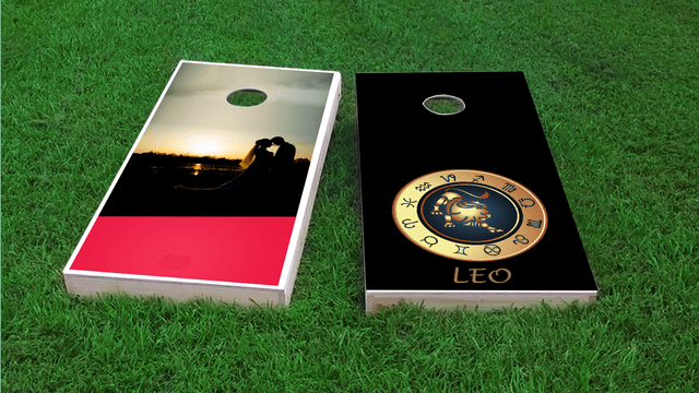 Zodiac Black (Leo) Themed Custom Cornhole Board Design