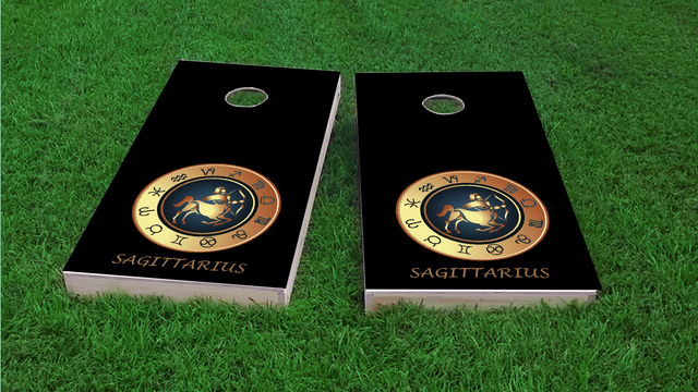Zodiac Black (Sagittarius) Themed Custom Cornhole Board Design