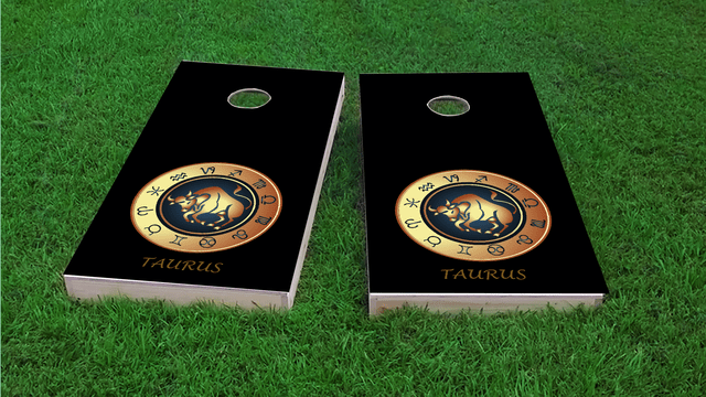 Zodiac Black (Taurus) Themed Custom Cornhole Board Design
