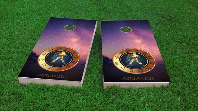 Zodiac Stars (Aquarius) Themed Custom Cornhole Board Design