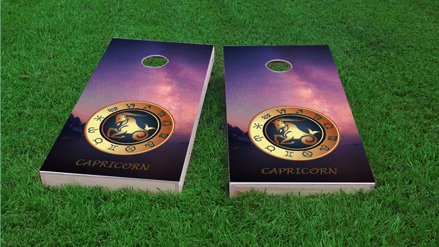 Zodiac Stars (Capricorn) Themed Custom Cornhole Board Design