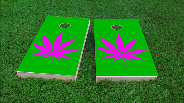 Marijuana / Cannabis w/Hot Pink Background