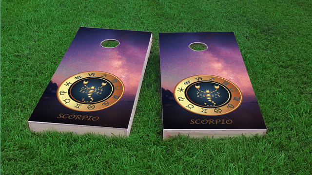 Zodiac Stars (Scorpio) Themed Custom Cornhole Board Design