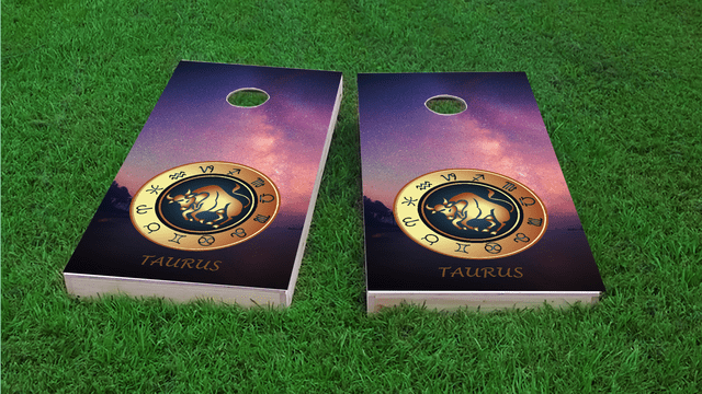 Zodiac Stars (Taurus) Themed Custom Cornhole Board Design